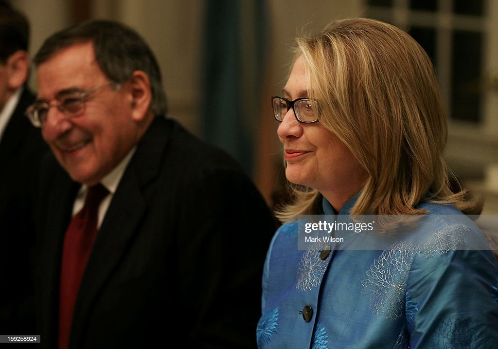 Secretary of State <a gi-track='captionPersonalityLinkClicked' href=/galleries/search?phrase=Hillary+Clinton&family=editorial&specificpeople=76480 ng-click='$event.stopPropagation()'>Hillary Clinton</a> and Secretary of Defense Leon Panetta attend a dinner with Afghan President Hamid Karzai at the State Department on January 10, 2013 in Washington, DC. Karzai is on a visit in Washington, including a meeting with U.S. President Barack Obama at the White House, to discuss the continued transition in Afghanistan and the partnership between the two nations.