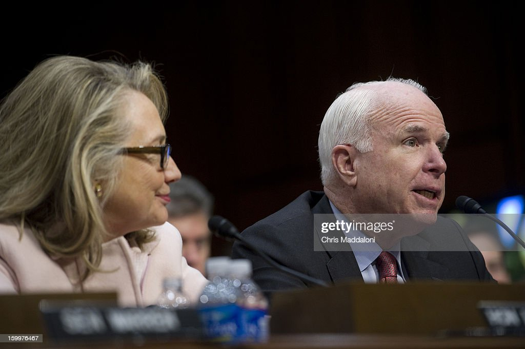 Secretary of State Hillary Clinton and Sen. John McCain, R-Ariz., introduce Senate Foreign Relations Chairman Sen. John Kerry, D-Mass., President Barack Obama's nominee to become secretary of state, at his confirmation hearing before the Senate Foreign Relations committee to replace Hillary Rodham Clinton.
