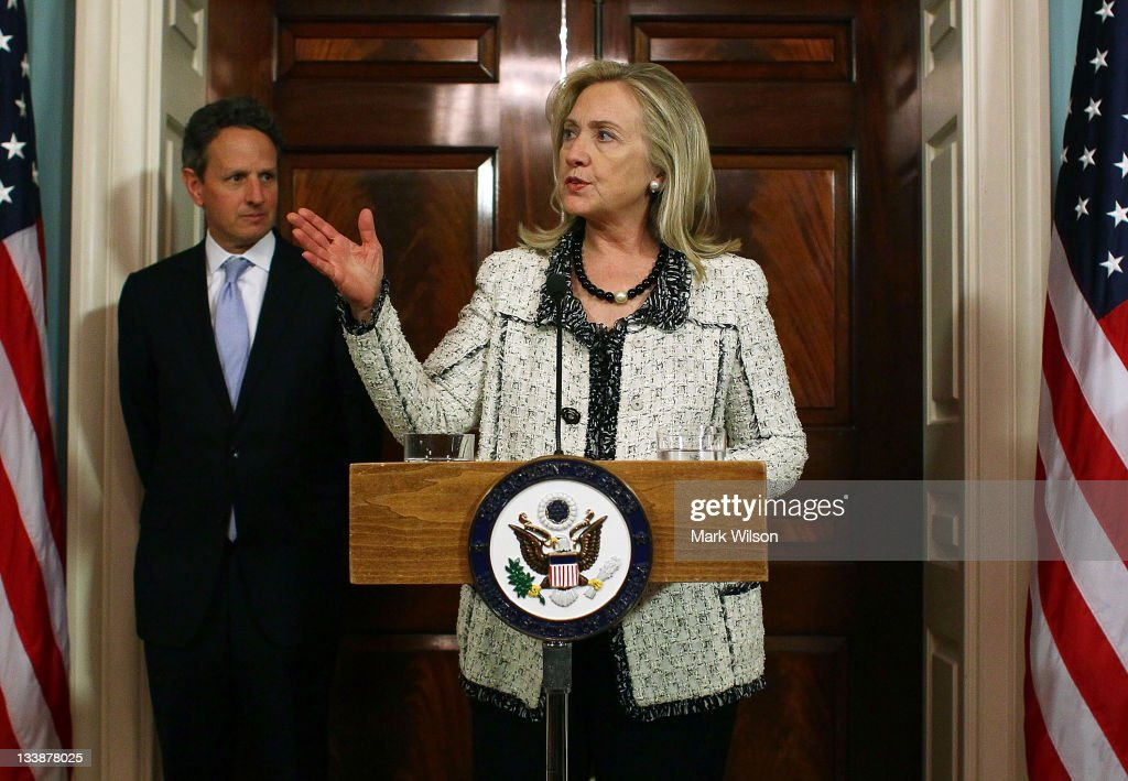 Secretary of State Hillary Clinton and Treasury Secretary Timothy Geithner announce new sanctions against Iran at the State Department on November 21...