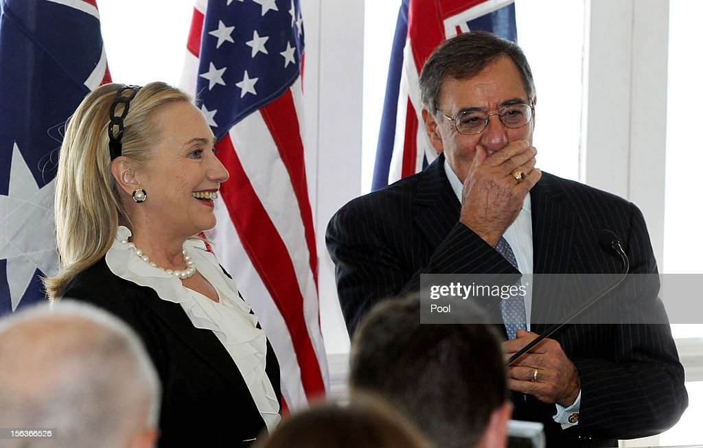 US Secretary of State <a gi-track='captionPersonalityLinkClicked' href=/galleries/search?phrase=Hillary+Clinton&family=editorial&specificpeople=76480 ng-click='$event.stopPropagation()'>Hillary Clinton</a> and US Secretary of Defence Leon Panetta attend a reception at Indiana Cottesloe Beach during the Australia-United States Ministerial Consultation, on November 14, 2012 at Cottesloe Beach near Perth , Australia. The bilateral AUSMIN forum will focus on foreign, defence and strategic policy.