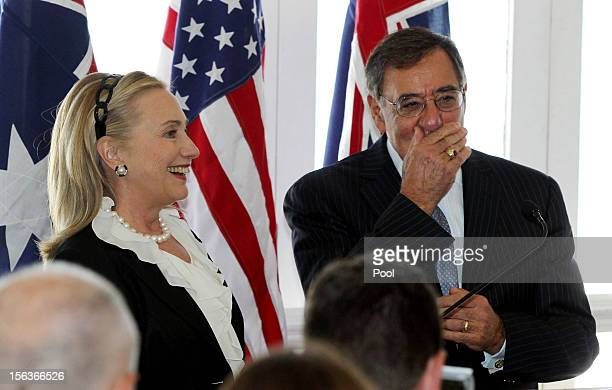 Secretary of State Hillary Clinton and US Secretary of Defence Leon Panetta attend a reception at Indiana Cottesloe Beach during the AustraliaUnited...