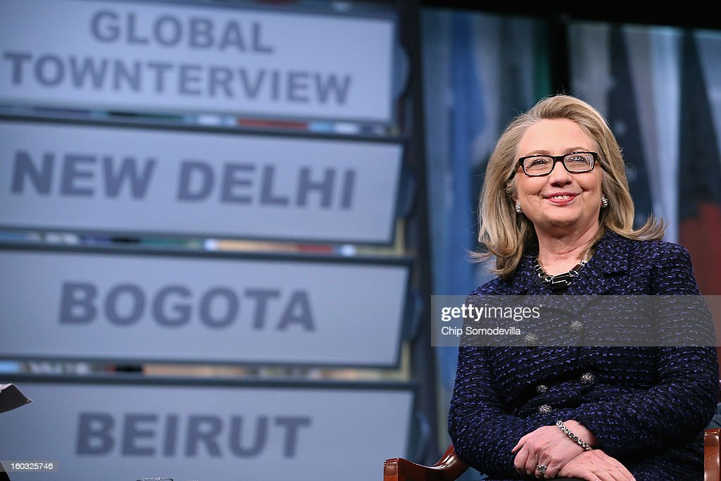 U.S. Secretary of State Hillary Clinton answers questions from students from around the world during a 'Global Townterview' at the Newseum January 29, 2013 in Washington, DC. Clinton took questions from an international group of youths via satellite and social media including Twitter, Facebook and Skype in advance of her last day at the State Department Friday.