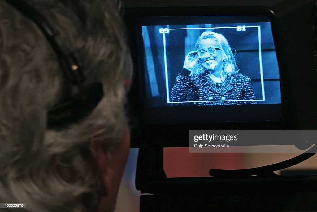 U.S. Secretary of State Hillary Clinton appears on a television camera viewfinder as she answers questions from students from around the world during a 'Global Townterview' at the Newseum January 29, 2013 in Washington, DC. Clinton took questions from an international group of youths via satellite and social media including Twitter, Facebook and Skype in advance of her last day at the State Department Friday.