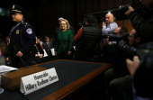 S Secretary of State Hillary Clinton arrives at a hearing before the Senate Foreign Relations Committee about the September 11 attacks against the US...