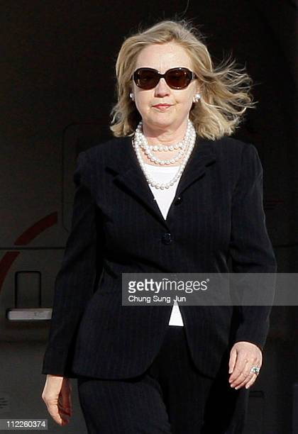 S Secretary of State Hillary Clinton arrives at Seoul Military Airport on April 16 2011 in Seoul South Korea Secretary Clinton is in South Korea on a...