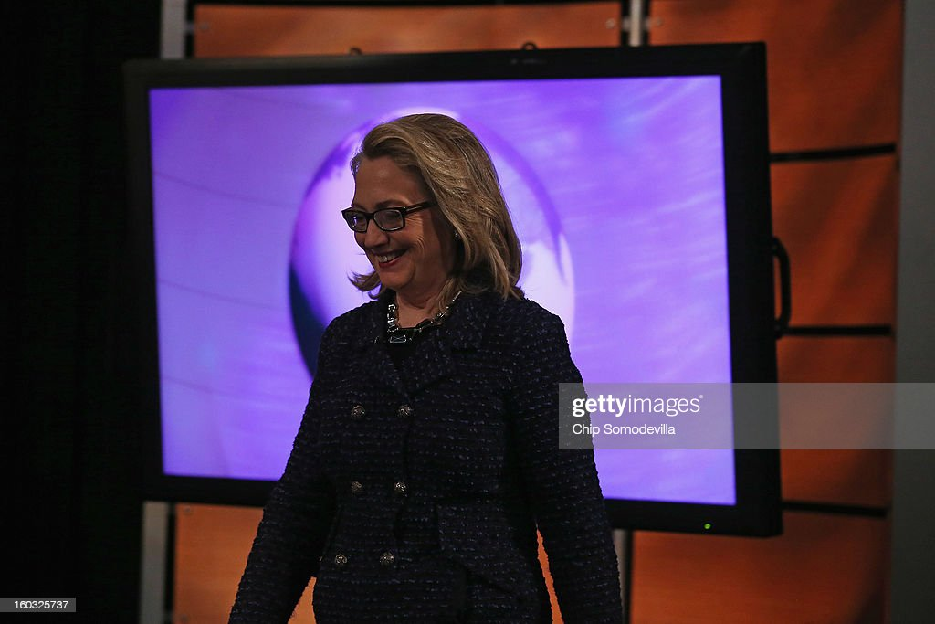 U.S. Secretary of State <a gi-track='captionPersonalityLinkClicked' href=/galleries/search?phrase=Hillary+Clinton&family=editorial&specificpeople=76480 ng-click='$event.stopPropagation()'>Hillary Clinton</a> arrives for a 'Global Townterview' at the Newseum January 29, 2013 in Washington, DC. Clinton took questions from an international group of youths via satellite and social media including Twitter, Facebook and Skype in advance of her last day at the State Department Friday.