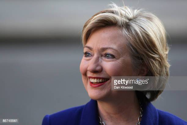 S Secretary of State Hillary Clinton arrives in Downing Street on April 1 2009 in London England Hillary Clinton joins US President Barack Obama on...