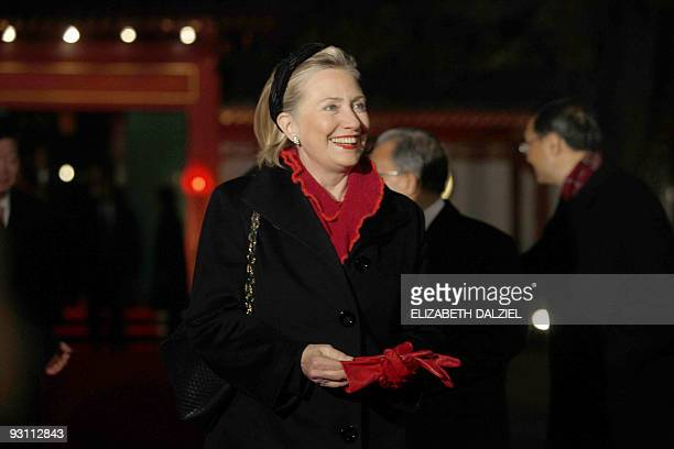US Secretary of State Hillary Clinton arrives to attend a meeting between US President Barack Obama and Chinese President Hu Jintao at the Diaoyutai...