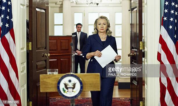 US Secretary of State Hillary Clinton arrives to speak on September 12 2012 on the killing of US Ambassador to Libya Christopher Stevens and 3 staff...