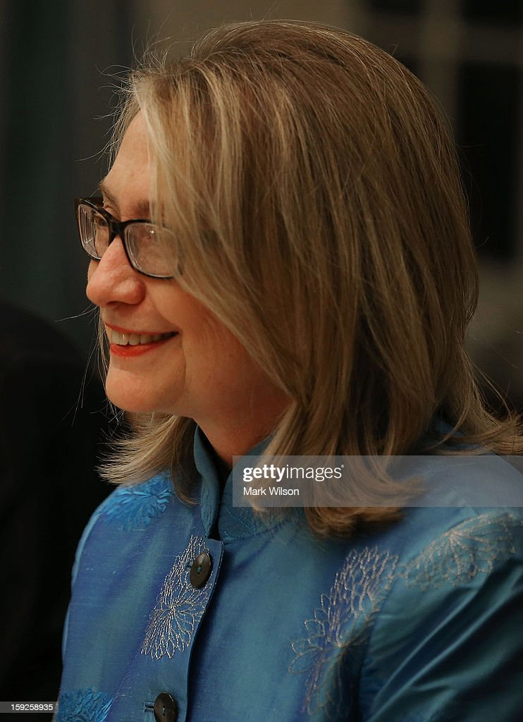 Secretary of State <a gi-track='captionPersonalityLinkClicked' href=/galleries/search?phrase=Hillary+Clinton&family=editorial&specificpeople=76480 ng-click='$event.stopPropagation()'>Hillary Clinton</a> attends a dinner with Afghan President Hamid Karzai at the State Department on January 10, 2013 in Washington, DC. Karzai is on a visit in Washington, including a meeting with U.S. President Barack Obama at the White House, to discuss the continued transition in Afghanistan and the partnership between the two nations.