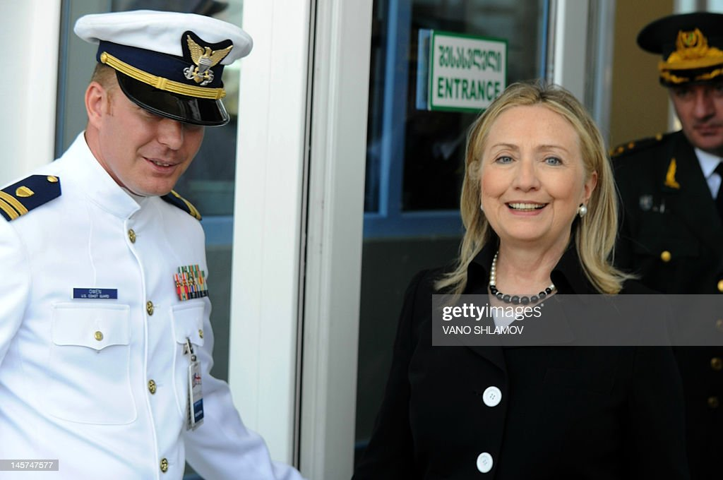 US Secretary of State Hillary Clinton attends a Georgian Coast Guard ship commissioning ceremony at the passenger terminal wharf in the Georgia's Black Sea port of Batumi, on June 5, 2012. The Soviet-designed boat, which will patrol the eastern end of the Black Sea, was commissioned into the Georgian Coast Guard after a refurbishment with the latest technology, using funds provided by the US State Department Export Border Control and Related Security Program.