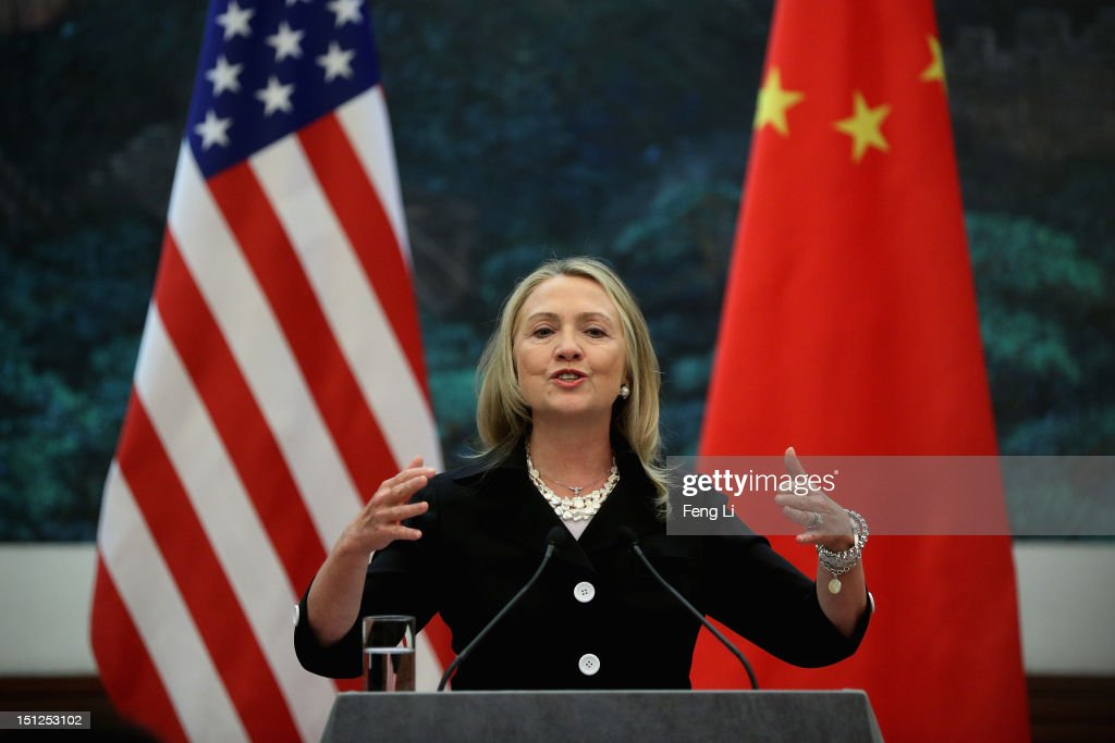 US Secretary of State <a gi-track='captionPersonalityLinkClicked' href=/galleries/search?phrase=Hillary+Clinton&family=editorial&specificpeople=76480 ng-click='$event.stopPropagation()'>Hillary Clinton</a> attends a press conference at the Great Hall of the People in Beijing on September 5, 2012.