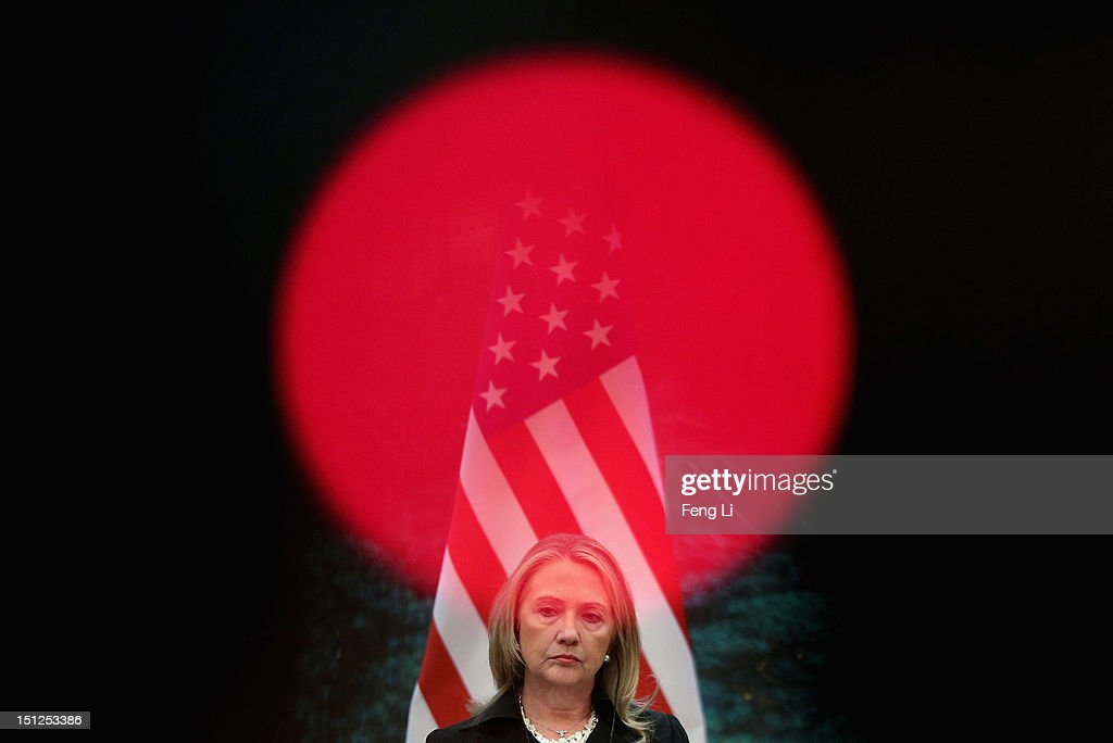 U.S. Secretary of State <a gi-track='captionPersonalityLinkClicked' href=/galleries/search?phrase=Hillary+Clinton&family=editorial&specificpeople=76480 ng-click='$event.stopPropagation()'>Hillary Clinton</a> attends a press conference at the Great Hall of the People on September 5, 2012 in Beijing, China. Secretary Clinton will urge the Chinese to use a collective diplomatic approach in solving terriorial disputes with its neighbors.