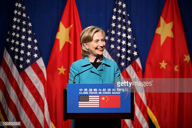 S Secretary of State Hillary Clinton attends a US Delegation Press Conference following the ChinaUS Strategic and Economic Dialogue on May 25 2010 in...