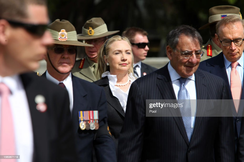 US Secretary of State <a gi-track='captionPersonalityLinkClicked' href=/galleries/search?phrase=Hillary+Clinton&family=editorial&specificpeople=76480 ng-click='$event.stopPropagation()'>Hillary Clinton</a>, Australian Foreign Minister <a gi-track='captionPersonalityLinkClicked' href=/galleries/search?phrase=Bob+Carr&family=editorial&specificpeople=209391 ng-click='$event.stopPropagation()'>Bob Carr</a> and US Secretary of Defense Leon Panetta attend a wreath-laying ceremony at the Cenotaph in Kings Park on November 14, 2012 in Perth Australia. The bilateral AUSMIN forum will focus on foreign, defence and strategic policy.