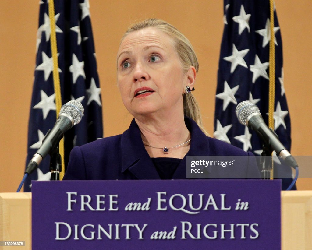 US Secretary of State Hillary Clinton defends the rights of lesbian gay bisexual and transgender people from around the world in a speech entitled...