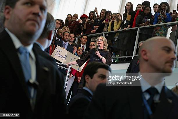S Secretary of State Hillary Clinton delivers her farewell address to the staff in the C Street lobby of the State Department on February 1 2013 in...