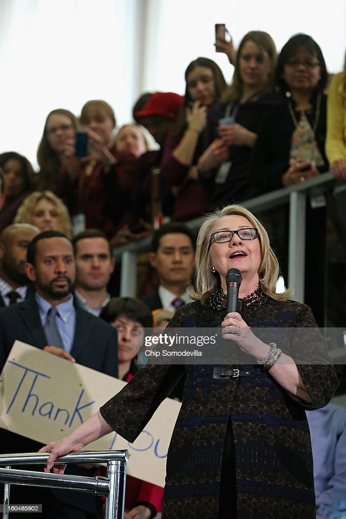 U.S. Secretary of State <a gi-track='captionPersonalityLinkClicked' href=/galleries/search?phrase=Hillary+Clinton&family=editorial&specificpeople=76480 ng-click='$event.stopPropagation()'>Hillary Clinton</a> delivers her farewell address to the staff in the C Street lobby of the State Department on February 1, 2013 in Washington, DC. With a strong record in exerting what she called 'soft power,' Clinton is leaving the State Department and the Obama Administration after travling 956,733 miles and visiting some 112 countries.