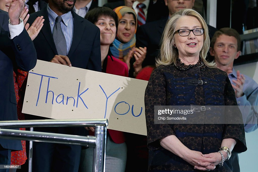 U.S. Secretary of State <a gi-track='captionPersonalityLinkClicked' href=/galleries/search?phrase=Hillary+Clinton&family=editorial&specificpeople=76480 ng-click='$event.stopPropagation()'>Hillary Clinton</a> delivers her farewell address to the staff in the C Street lobby of the State Department on February 1, 2013 in Washington, DC. Clinton is leaving the State Department and the Obama Administration after travling 956,733 miles and visiting some 112 countries.She will be replaced by U.S. Sen. John Kerry (D-MA).
