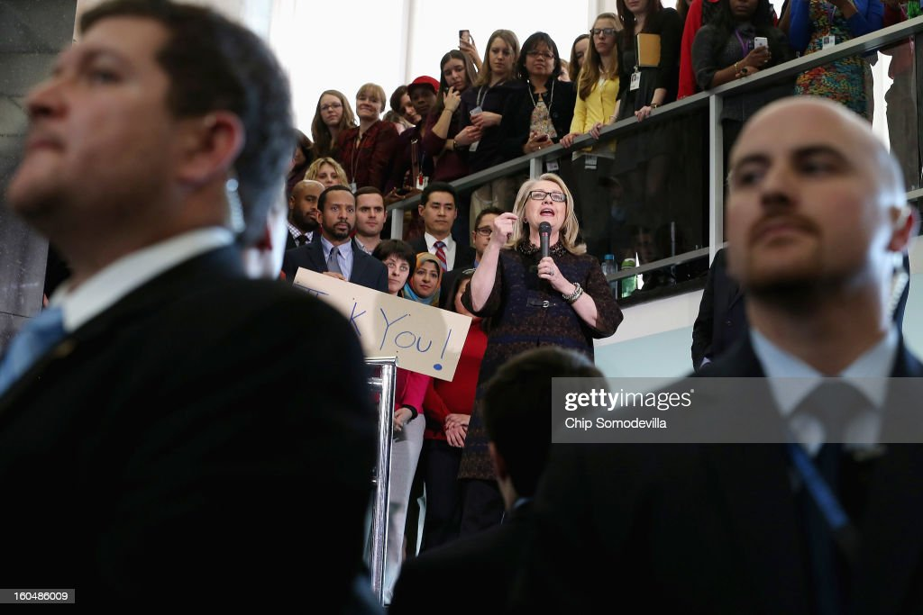 U.S. Secretary of State <a gi-track='captionPersonalityLinkClicked' href=/galleries/search?phrase=Hillary+Clinton&family=editorial&specificpeople=76480 ng-click='$event.stopPropagation()'>Hillary Clinton</a> delivers her farewell address to the staff in the C Street lobby of the State Department on February 1, 2013 in Washington, DC. WitClinton is leaving the State Department and the Obama Administration after travling 956,733 miles and visiting some 112 countries.She will be replaced by U.S. Sen. John Kerry (D-MA).