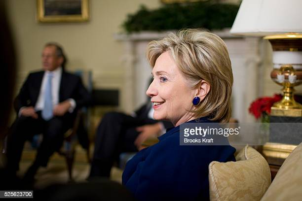 Secretary of State Hillary Clinton during a meeting with US President Barack Obama and Russian Foreign Minister Sergey Lavrov in the Oval Office of...