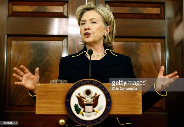 S Secretary of State Hillary Clinton gives an update on the ongoing US efforts to aid the people of Haiti after last week's 70 earthquake at the...