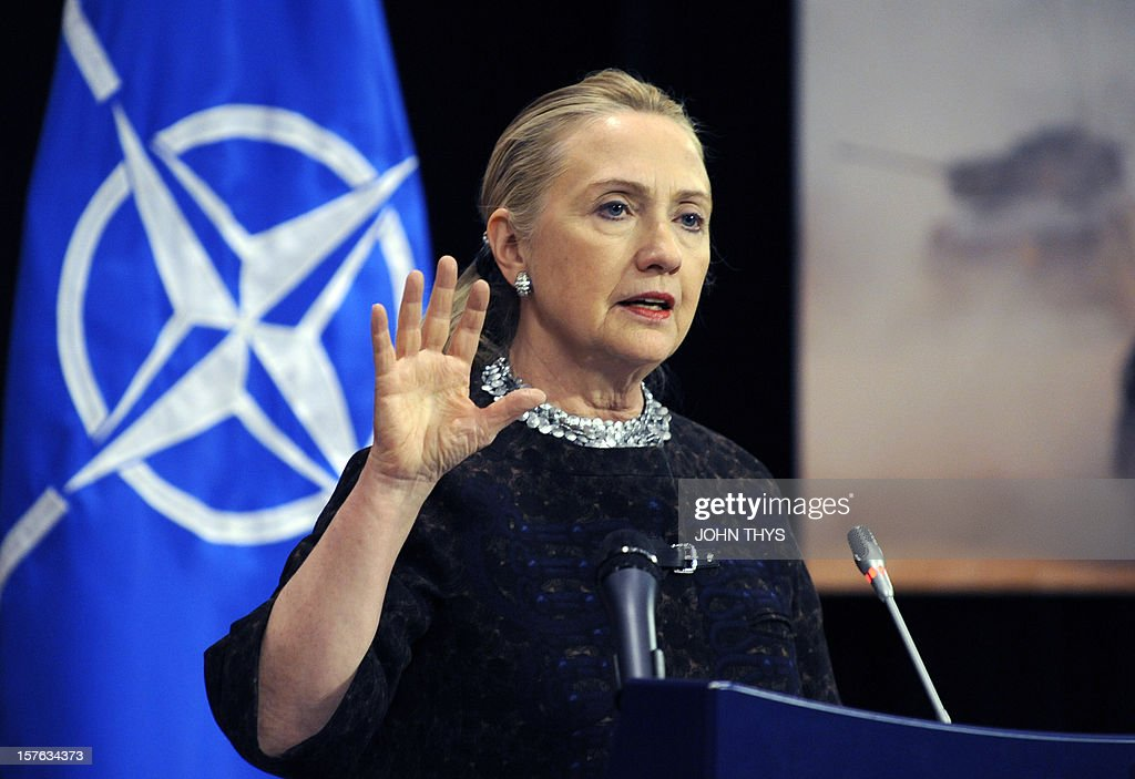 US Secretary of State Hillary Clinton gives press conference on December 5, 2012 on the second and last day of talks between foreign ministers from the 28 North Atlantic Treaty Organization (NATO) member countries at organization headquarters in Brussels. NATO ministers are to discuss Syria as well as Afghanistan, Russia-NATO ties and the situation in Georgia and the Balkans.