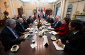 S Secretary of State Hillary Clinton holds a bilateral meeting with Iraqi Foreign Minister Hoshyar Zebari December 12 2011 at the State Department in...