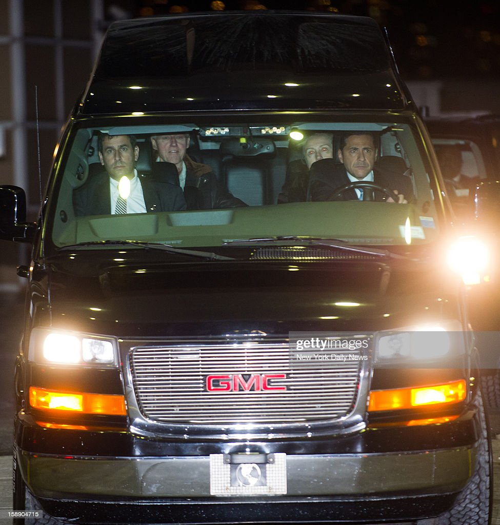 Secretary of State Hillary Clinton in the back seat of a van with her husband former President Bill Clinton as she leaves New York-Presbyterian Hospital-Columbia University Medical Center in Manhattan.