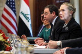 S Secretary of State Hillary Clinton is seen during a meeting with Iraqi Foreign Minister Hoshyar Zebari December 12 2011 at the State Department in...