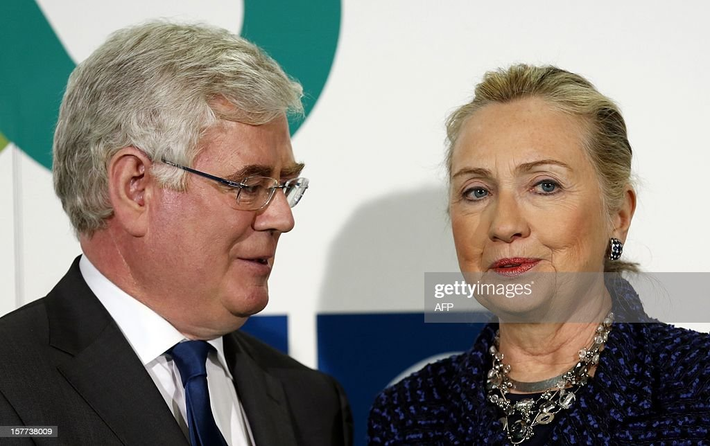 US Secretary of State Hillary Clinton (R) is welcomed by Irish Foreign Minister Eamon Gilmore at the Organisation for Security and Co-operation in Europe (OSCE) conference in Dublin on December 6, 2012. The two day conference will be focusing on resolving conflict and improving the security and rights of the citizens of the OSCE. AFP PHOTO/POOL/Kevin Lamarque