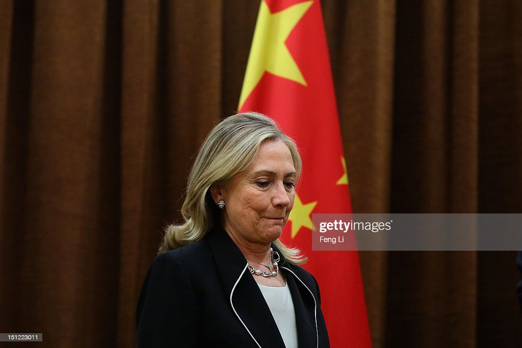 US Secretary of State <a gi-track='captionPersonalityLinkClicked' href=/galleries/search?phrase=Hillary+Clinton&family=editorial&specificpeople=76480 ng-click='$event.stopPropagation()'>Hillary Clinton</a> meets with Chinese Foreign Minister Yang Jiechi during her visit to Beijing on September 4, 2012.