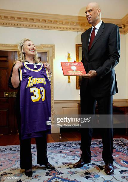 S Secretary of State Hillary Clinton meets with Cultural Ambassador Kareem Abdul Jabbar at the State Department January 18 2012 in Washington DC...