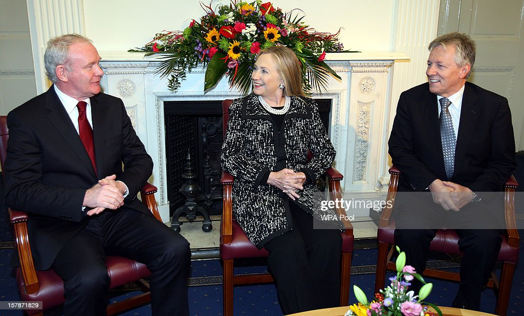 US Secretary of State <a gi-track='captionPersonalityLinkClicked' href=/galleries/search?phrase=Hillary+Clinton&family=editorial&specificpeople=76480 ng-click='$event.stopPropagation()'>Hillary Clinton</a> (C) meets with First Minister Peter Robinson and First Minister <a gi-track='captionPersonalityLinkClicked' href=/galleries/search?phrase=Martin+McGuinness&family=editorial&specificpeople=211317 ng-click='$event.stopPropagation()'>Martin McGuinness</a> (L) at Stormont Castle on December 7, 2012 in Belfast, United Kingdom. Clinton visists Belfast as part of a four-day European tour. She called for a renewed commitment to peace in the region from political parties.