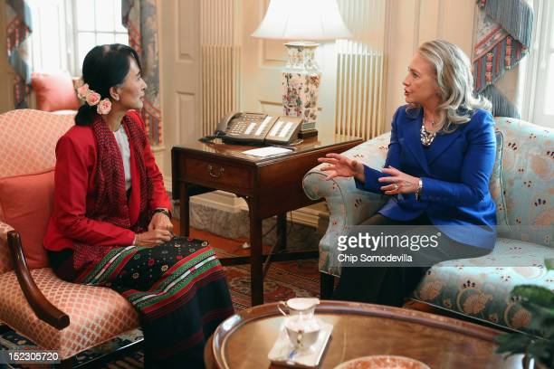 S Secretary of State Hillary Clinton meets with Nobel Peace Prize winner and Burmese prodemocracy opposition leader Daw Aung San Suu Kyi in Clinton's...