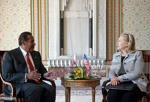 US Secretary of State Hillary Clinton meets with Qatari Prime Minister and Foreign Minister Hamad bin Jassim on the sidelines of the fourth meeting...