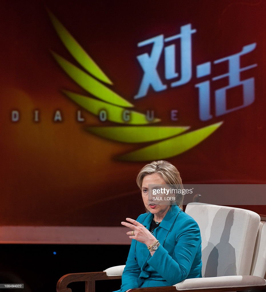 US Secretary of State Hillary Clinton responds to a question while appearing on the show 'Dialogue' at CCTV studios in Beijing on May 25, 2010. The United States and China were wrapping up strategic talks aimed at smoothing out differences on currency and trade issues, as Washington presses Beijing to get tough on North Korea. AFP PHOTO / POOL / Saul LOEB