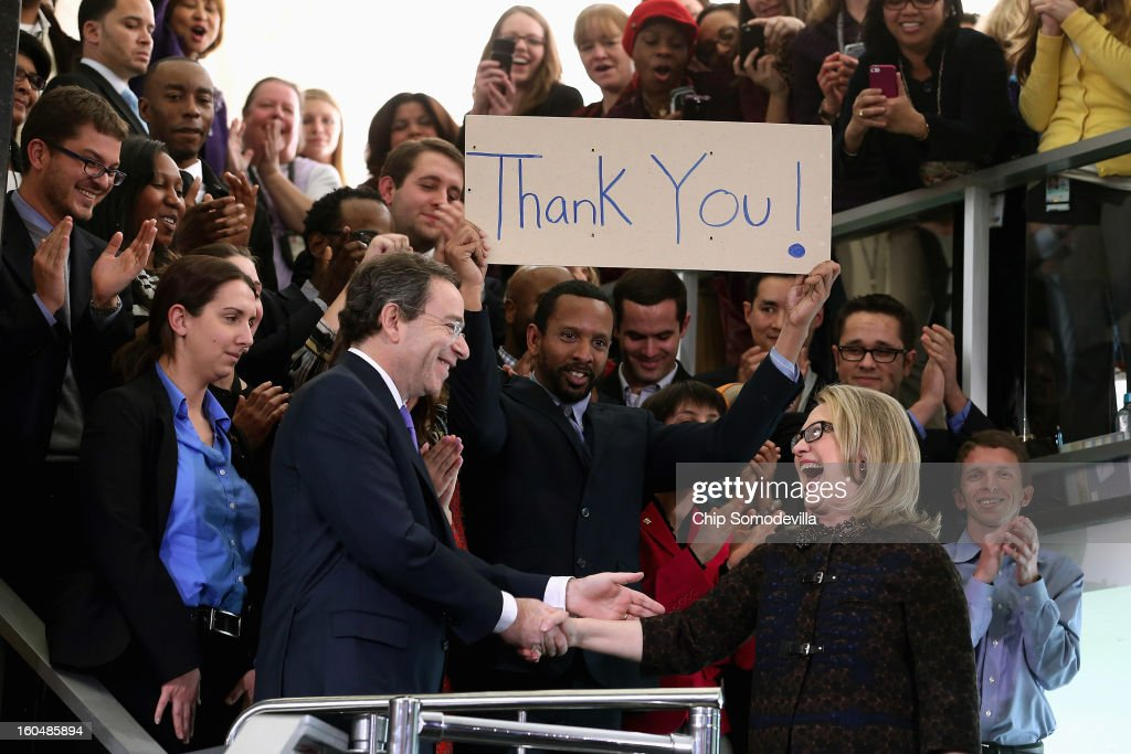 U.S. Secretary of State <a gi-track='captionPersonalityLinkClicked' href=/galleries/search?phrase=Hillary+Clinton&family=editorial&specificpeople=76480 ng-click='$event.stopPropagation()'>Hillary Clinton</a> (R) shakes hands with Deputy Secretary of State for Management and Resources Tomas Nides after delivering her farewell address to the staff in the C Street lobby of the State Department on February 1, 2013 in Washington, DC. With a strong record in exerting what she called 'soft power,' Clinton is leaving the State Department and the Obama Administration after travling 956,733 miles and visiting some 112 countries.