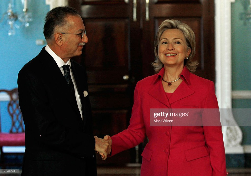 Secretary of State <a gi-track='captionPersonalityLinkClicked' href=/galleries/search?phrase=Hillary+Clinton&family=editorial&specificpeople=76480 ng-click='$event.stopPropagation()'>Hillary Clinton</a> (R) shakes hands with Dr. <a gi-track='captionPersonalityLinkClicked' href=/galleries/search?phrase=Ekmeleddin+Ihsanoglu&family=editorial&specificpeople=589066 ng-click='$event.stopPropagation()'>Ekmeleddin Ihsanoglu</a>, Secretary General of the Organization of the Islamic Conference, before a meeting at the Department of State October 2, 2009 in Washington, DC. Secretary Clinton and Secretary General Ihsanoglu were expected to discuss United States and the Muslim world relations.