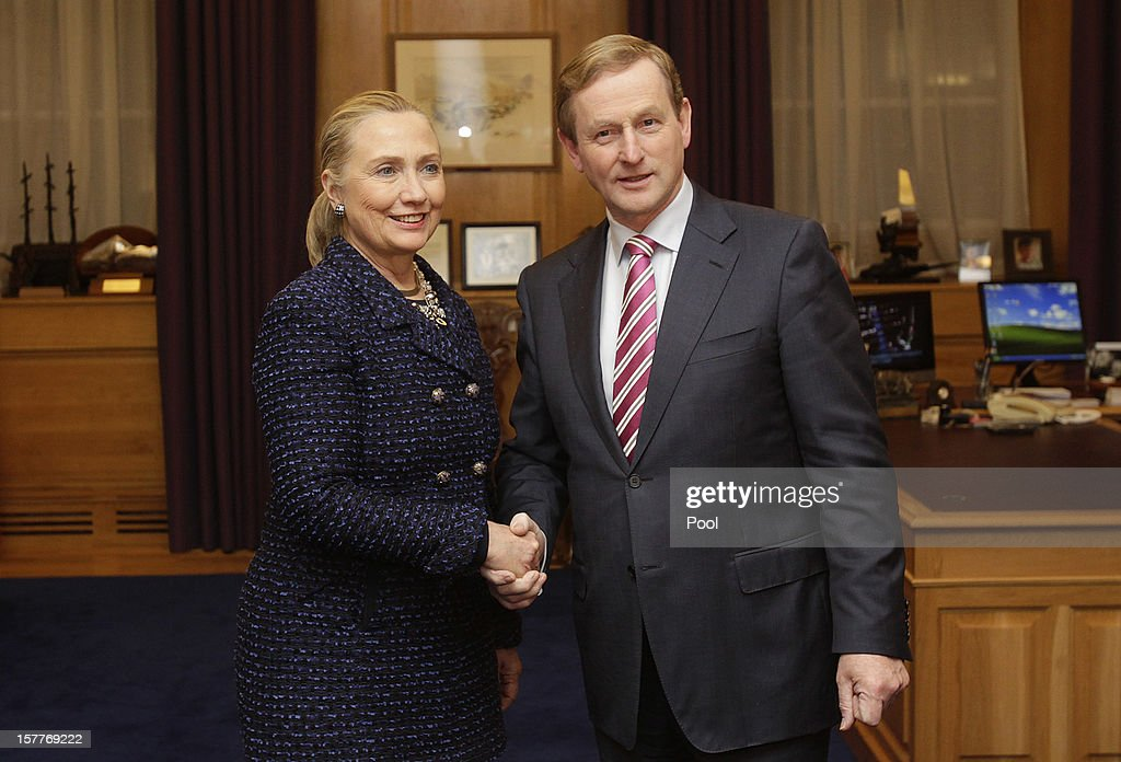 U.S. Secretary of State <a gi-track='captionPersonalityLinkClicked' href=/galleries/search?phrase=Hillary+Clinton&family=editorial&specificpeople=76480 ng-click='$event.stopPropagation()'>Hillary Clinton</a> (L) shakes hands with Taoiseach <a gi-track='captionPersonalityLinkClicked' href=/galleries/search?phrase=Enda+Kenny&family=editorial&specificpeople=5129605 ng-click='$event.stopPropagation()'>Enda Kenny</a> in his office before their press conference during the 19th Ministerial Council of the Organization for Security and Co-operation in Europe (OSCE) December 6, 2012 in Government Buildings, Dublin, Ireland. Clinton joined Russian Foreign Minister Sergey Lavrov and the U.N. and Arab League Envoy to Syria Lakhdar Brahimi on the sidelines of the event to address the worsening situation in Syria.