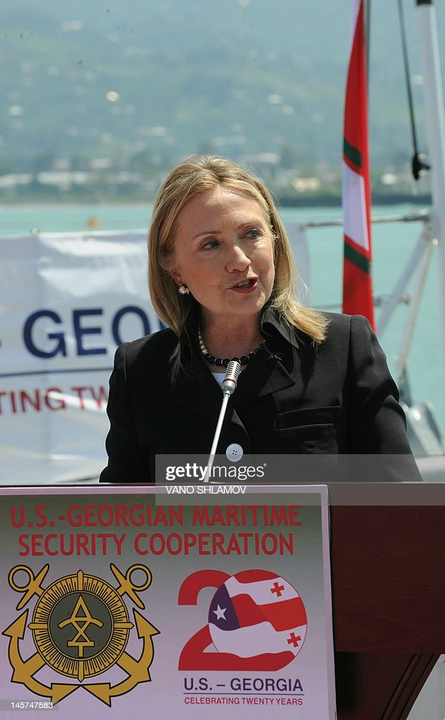 US Secretary of State Hillary Clinton speaks as she attends a Georgian Coast Guard ship commissioning ceremony at the passenger terminal wharf in the Georgia's Black Sea port of Batumi, on June 5, 2012. The Soviet-designed boat, which will patrol the eastern end of the Black Sea, was commissioned into the Georgian Coast Guard after a refurbishment with the latest technology, using funds provided by the US State Department Export Border Control and Related Security Program.