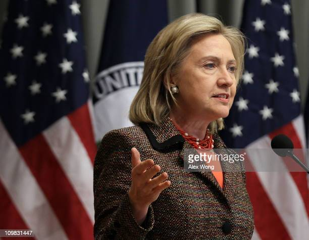 S Secretary of State Hillary Clinton speaks as she launches the '100 Women Initiative Empowering Women and Girls through International Exchanges' at...