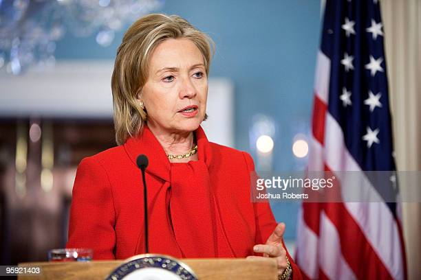 S Secretary of State Hillary Clinton speaks as she meets with UK Foreign Secretary David Miliband January 21 2010 at the State Department in...