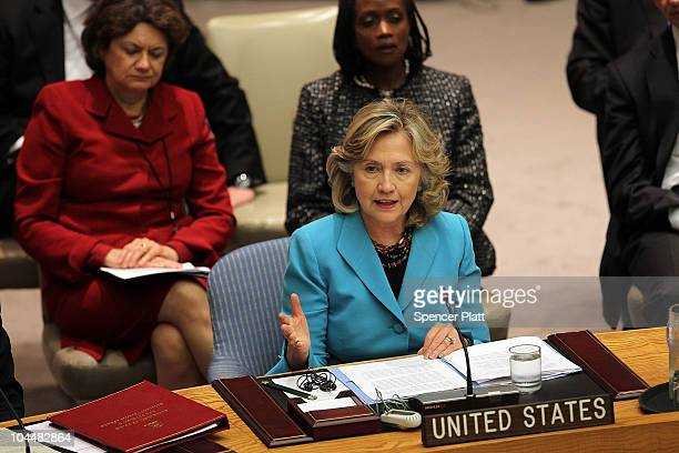 Secretary of State Hillary Clinton speaks at a Security Council meeting at the United Nations on September 27 2010 in New York City The meeting...