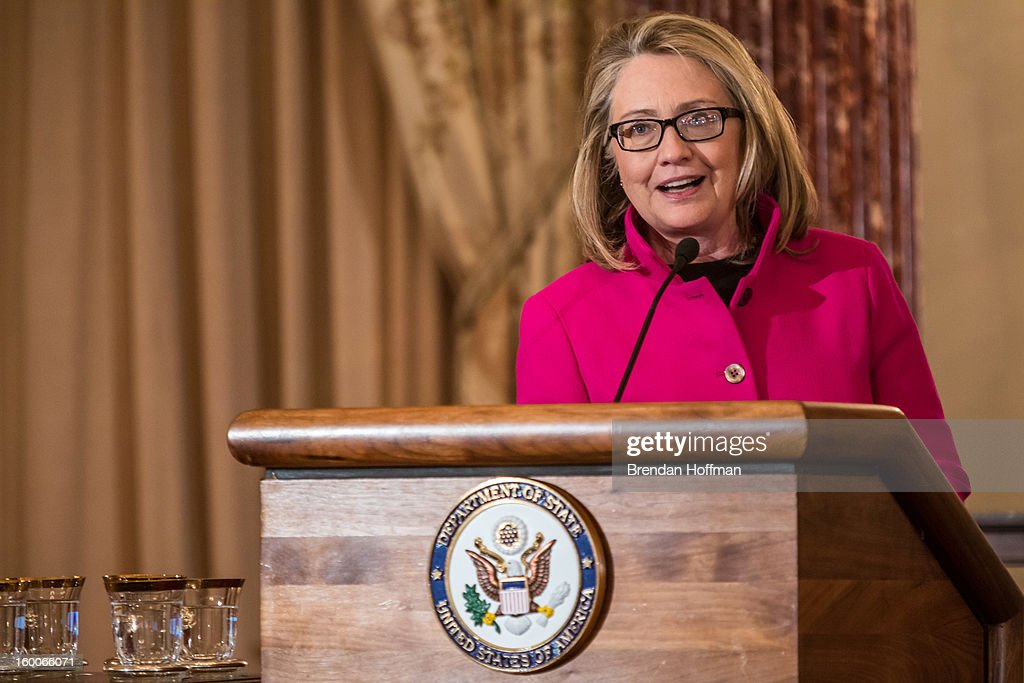 Secretary of State <a gi-track='captionPersonalityLinkClicked' href=/galleries/search?phrase=Hillary+Clinton&family=editorial&specificpeople=76480 ng-click='$event.stopPropagation()'>Hillary Clinton</a> speaks at an event launching the Diplomacy Center on January 25, 2013 in Washington, DC. The center will serve as a museum of diplomacy, housed at the Department of State.