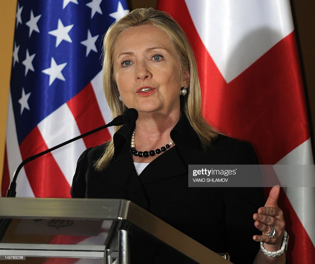 US Secretary of State Hillary Clinton speaks at the Public Service Hall in Batumi, Georgia, on June 5, 2012, during her joint press conference with Georgian President Mikheil Saakashvili. AFP PHOTO / VANO SHLAMOV