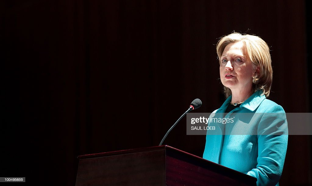 US Secretary of State Hillary Clinton speaks before signing the US-China Consutlation on People-to-People Exchange agreement at the National Center for the Performing Arts in Beijing on May 25, 2010. Clinton arrived in Beijing on May 23 ahead of talks with Chinese leaders on trade issues and security threats including renewed tensions on the Korean peninsula. Clinton flew into the capital from Shanghai, where she had toured the World Expo site, and attended a state dinner hosted by Dai Bingguo, a member of China's State Council, or cabinet. AFP PHOTO / POOL / Saul LOEB