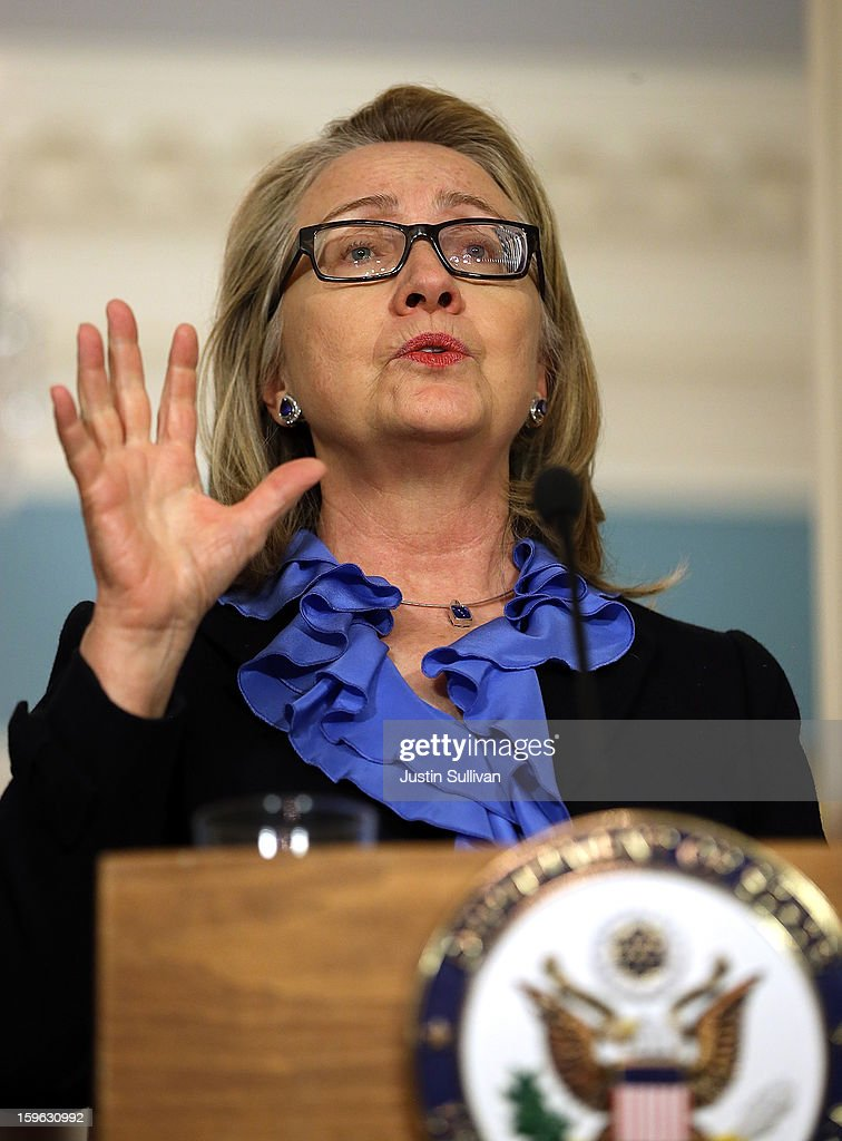 Secretary of State <a gi-track='captionPersonalityLinkClicked' href=/galleries/search?phrase=Hillary+Clinton&family=editorial&specificpeople=76480 ng-click='$event.stopPropagation()'>Hillary Clinton</a> speaks during a news conference with Somali president Hassan Sheikh Mohamud at the State Department on January 17, 2013 in Washington, DC. Secretary Clinton announced that the United States would recognize the Somali government for the first time in over 20 years, since the shooting down in Mogadishu of two American Black Hawk helicopters.