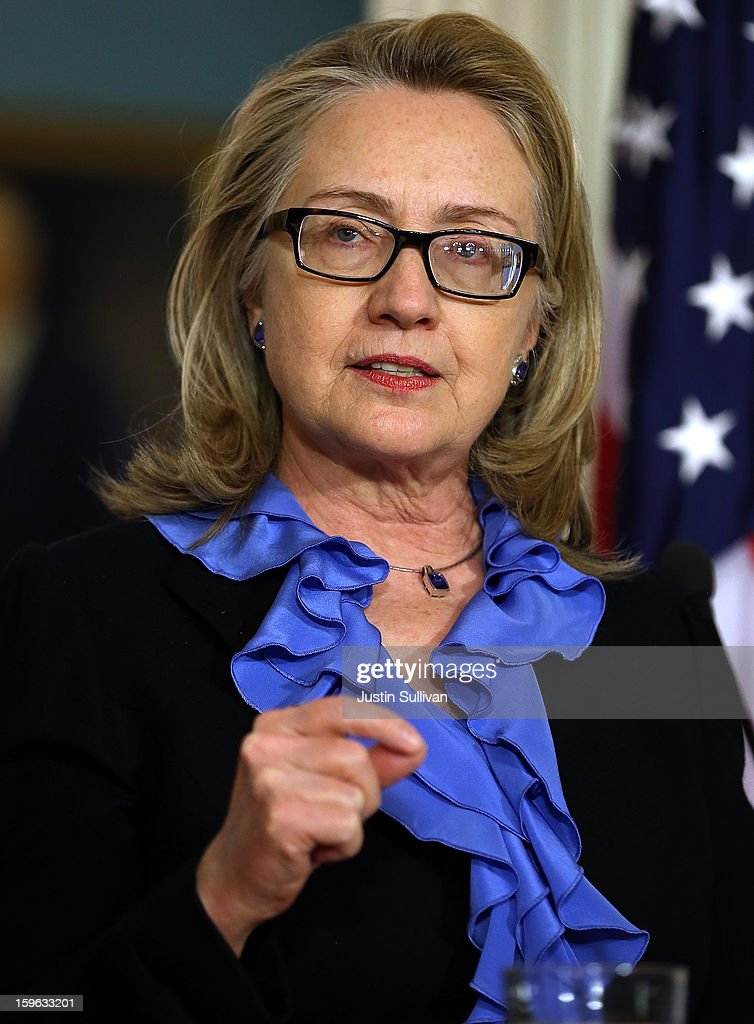 Secretary of State <a gi-track='captionPersonalityLinkClicked' href=/galleries/search?phrase=Hillary+Clinton&family=editorial&specificpeople=76480 ng-click='$event.stopPropagation()'>Hillary Clinton</a> speaks during a news conference with Somali president Hassan Sheikh Mohamud on January 17, 2013 in Washington, DC. Secretary Clinton announced that the United States would recognize the Somali government for the first time in over 20 years, since the shooting down in Mogadishu of two American Black Hawk helicopters.