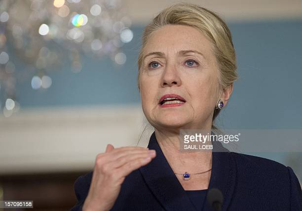 US Secretary of State Hillary Clinton speaks during a press conference at the US State Department in Washington DC on November 28 following meetings...